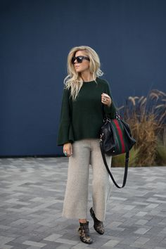 Lisa Allen of LunchPails and Lipstick wearing a green BP sweater from Nordstrom with sweater pants from Club Monaco and Chloe booties with a Gucci Boston bag