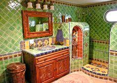 Bathroom using Mexican tiles.