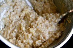 1 cup water (or milk) pinch of salt ¼ tsp. vanilla extract 1 egg white ½ banana 3 Tbsp. steel cut oats + 1 Tbsp. scottish oats/oat bran