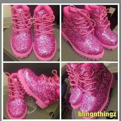 Pink glittery work boots