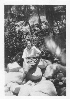 Black and White Vintage Snapshot Photograph Woman Forest Rocks Sit 1940'S | eBay