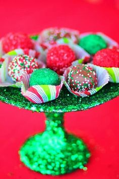 Love these cake balls at a Mrs. Claus Cookie Shop Party with REALLY CUTE IDEAS via Kara's Party Ideas   KarasPartyIdeas.com