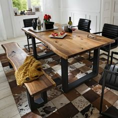 Essgruppen Tree-edge table Cosimo made of acacia with bench pieces) Wooden Dining Table Modern, Dinning Table Design, Wooden Dining Tables, Industrial Dining Tables, Oak Table, Dining Table In Kitchen, Dinner Tables Furniture, Free Delivery, Modular Shelving