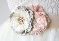 Marco nupcial, boda rosa y gris, cinta Floral nupcial, correa de vestido de boda…