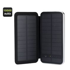 RIPA Monocrystalline Solar Power Charger - 10000mAh 2 USB Output 5V 3W Solar Panel Touch Buttons