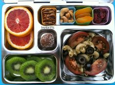 Bentoriffic. Cool site full of great ideas for kid bento boxes. My hopes are this will encourage autonomy with my 2 year old since I'll be spending so much time feeding the newborn and will be unable to immediately attend to the hunger pangs of the older one. Put on lower shelf in fridge in a container with an easy to remove lid.