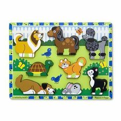 Melissa & Doug Pets Wooden Chunky Puzzle by Melissa & Doug. $10.20. Full-color pictures beneath each piece. Recommended Age Range 2 Years and up. Thick puzzle pieces are easy for small hands. This unique puzzle promotes pretend play as well as matching skills. Pieces stand on their own for additional play. From the Manufacturer                It's truly a FRESH START for puzzles! This hand-painted, playfully styled puzzle is like nothing you've seen before!  The thick, chun...