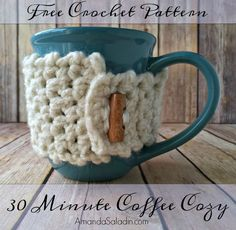 Crochet Gift Design Free Crochet Pattern - 30 Minute Coffee Cozy by Amanda Saladin - Need a quick gift or want a project with instant gratification? The 30 minute coffee cozy is just the thing! Uses bulky yarn and a large hook. Crochet Coffee Cozy, Crochet Cozy, Crochet Gifts, Free Crochet, Crochet 101, Crochet Cable, Simple Crochet, Coffee Cozy Pattern, Crochet Kitchen