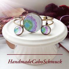 Cabochon Schmuckset Armreif/Armband 25mm und Ohrhänger 12mm Bronze Mandala weiß bunt