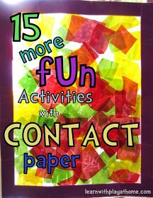 Learn with Play at home: 15 MORE fun Activities with Contact Paper! Aka sticky back plastic Preschool Projects, Preschool Crafts, Projects For Kids, Crafts For Kids, Art Projects, Daycare Crafts, Toddler Activities, Preschool Activities, Preschool Teachers