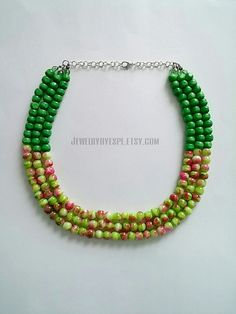 Hey, I found this really awesome Etsy listing at https://www.etsy.com/listing/242972478/green-statement-necklace-anthropologie
