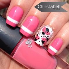 French manicure with butterfly nail art | Diseños de uñas