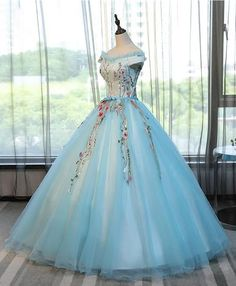 Light Blue Tulle, A-Line Evening Dress With Flower Applique ,Elegant Tulle Long Prom Dress, Off Shoulder Evening Dress, Cap Sleeves ,Long Evening Gown ,Floor Length Prom Dress ,2018 New Fashion,Custom Made