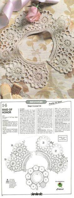 This Pin was discovered by Mih Crochet Collar Pattern, Col Crochet, Crochet Lace Collar, Crochet Borders, Crochet Chart, Thread Crochet, Crochet Gifts, Irish Crochet, Crochet Motif