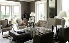 Living Room Design With Gray Taupe Grcloth Wallpaper Bay Windows Eclectic