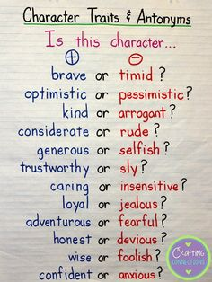 Anchor chart for helping students understand character traits AND antonyms!