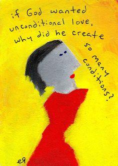 unconditional love e9Art ACEO Outsider Folk Art Brut Painting Humor God Prayer Religious Illustration Portrait Face