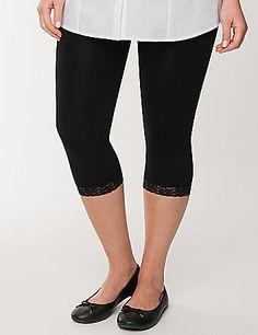 Control top capri legging tights with lace cuffs