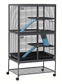 MidWest Deluxe Critter Nation Double Unit Small Animal Cage (Model Includes 2 leak-Proof Pans, 2 Shelves, 3 Ramps w/ Ramp Covers & 4 locking Wheel Casters, Measures 36 Chinchilla Cage, Ferret Cage, Pet Rats, Pets, Chinchillas, Pet Ferret, Hamsters, Degu Cage, Pet Rat Cages