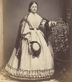 CDV: Lovely Victorian COLCHESTER Lass, CRINOLINE Hoop Dress LACE SHAWL Hat 1860s | eBay