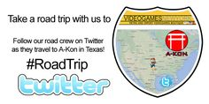 #RoadTrip A-Kon This week our team is in Texas for A-Kon Convention. Jump over to our twitter page (VideoGamesNYC) to follow them as they pack, drive, setup, sell, pack and return!   www.twitter.com/VideoGamesNYC