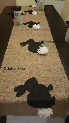 Ötletes Blog: Nyuszis asztalfutó Chicken Crafts, Burlap Table Runners, Easter Table, Spring Crafts, Hobbit, Shag Rug, Blog, Bunny, Sewing
