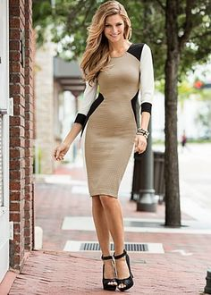 """Textured Color Block Dress $32  Dress with distinction. · Sizes: XS (2), S (4-6), M (8-10), L (12-14), XL (16)   · Exposed back zip   · 21"""" in length from natural waist   · Poly/spandex. Made in USA  · Style #Y48747"""
