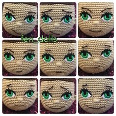 Face expressions made with brows and mouth by feri-dolls (@feri_dolls) in Instagram , how to make face on crocheted amigurumi doll