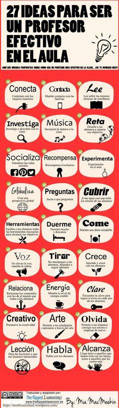 27 IDEAS PARA SER UN PROFESOR EFECTIVO EN EL AULA #INFOGRAFIA #INFOGRAPHIC #EDUCATION