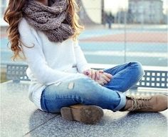 Love the rolled jeans with the boot!