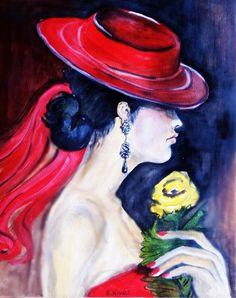 Hölgy virággal.  Oil-paper, 40x30cm.