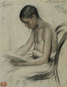 LEONID PASTERNAK  -  Boris Pasternak, the eldest child of Leonid and Rosalia, as a boy of eleven    1901; black and red chalk on grey Ingres paper.