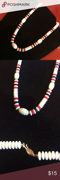Vintage red, white and blue beaded necklace! Lovely clasp and fun colors! Ready for 4th of July? Vintage Jewelry Necklaces