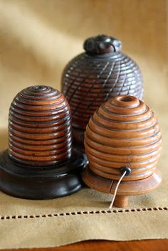 BEE~Three little nineteenth-century English turned-wood bee-skep-form string holders. Hives And Honey, Honey Bees, Wood Bees, Bee Skep, Bee Hives, Buzzy Bee, Bee Art, Yarn Bowl, Shabby Chic
