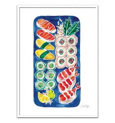 Art-Poster 50 x 70 cm - Sushi Platter - Cat Coquillette - Watercolor Illustration. Art-Poster and prints published by Wall Editions.