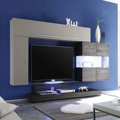 Ensemble meuble TV taupe laqué et wengé moderne VERA