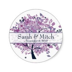 Purple Tree Wedding Round Sticker