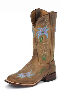 Tony Lama Brown Suntan Century Embroidered Flowers Cowgirl Boots $199