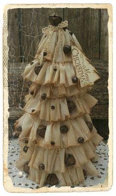 PRIMITIVE FOLK ART  MUSLIN CHRISTMAS TREE W/RUSTIC JINGLE BELLS #NaivePrimitive