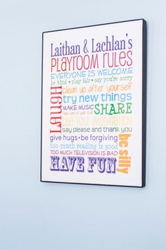 Playroom Rules Personalized Print by blueyedesigns on Etsy, $20.00