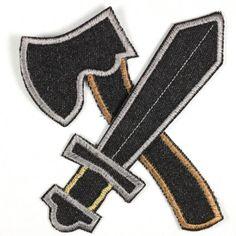 Hosenflicken: Knieflicken Bügelflicken Axt, Schwert, groß