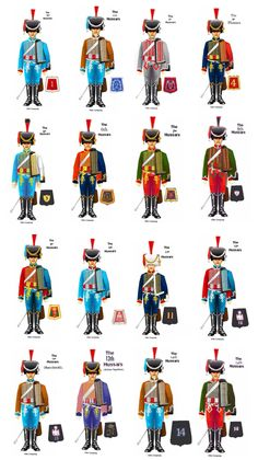 Hussar Regiments - Table of Uniforms Military Gear, Military History, Military Fashion, Military Uniforms, British Soldier, British Army, First French Empire, Military Insignia, Army Uniform