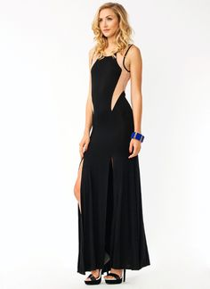 Contrast Mesh Inset Maxi Dress