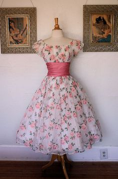 THE ULTIMATE 1950's Sheer Chiffon Over Satin New Look Party Dress w Velvet Flocked Bright Pink Rose Print - Gathered Pink Polished Cotton Midsection - Large Bow in Back - Off Shoulder Design - Shelf Bust - So Dior - Crinoline - Wedding - VLV - Size M