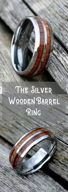 Crafted out of high grade tungsten carbide and inlaid with natural koa wood. This wooden ring in inspired from old whiskey barrels They have sooo many wooden wedding rings to pick from! Wedding Men, Wedding Bands, Wedding Ideas, Benfica Wallpaper, Barrel Rings, Wood Rings, Wedding In The Woods, Silver Man, Whiskey Barrels