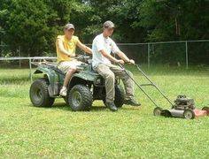 Rednecks Riding Lawnmower