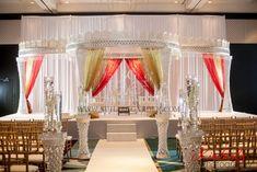 Hilton Downtown Tampa, Palazzo Mandap, Glass Crystals, Fusion Mandap, Shades of Red and Gold, Suhaag Garden, Florida Indian Wedding Decorator, Decoration Vendors, Mandap, Gujurati Wedding, Indian Ceremony