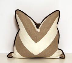 16 Linen Beige and White Chevron Throw Pillow