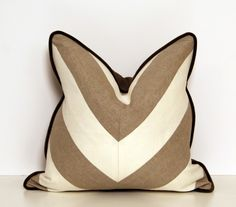 Linen Beige and White Chevron Throw Pillow