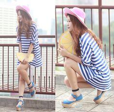 Romwe Striped Tee Dress, The Layers Sheer Socks, Minna Parikka Clea Heels